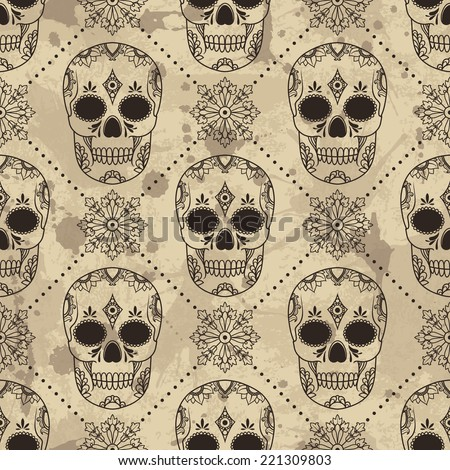 vector pattern with skulls. Vector illustration. Grunge background with drops and splashes - stock vector