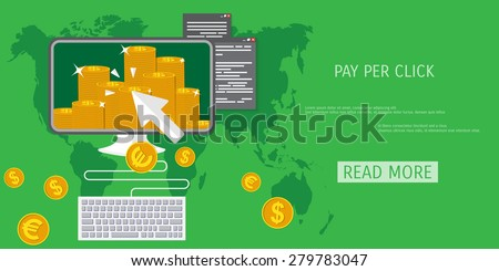 Vector pay per click concept illustration. Freelance job. Internet working. E-commerce and internet banking. - stock vector
