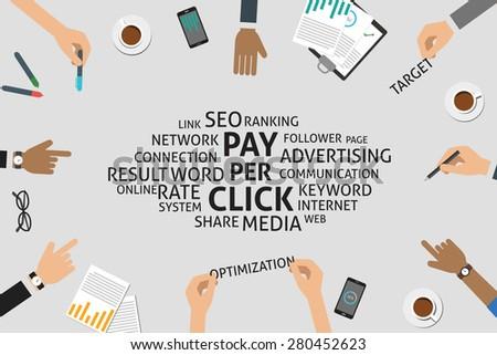 vector pay per click concept,template - stock vector
