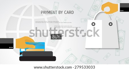 Vector payment by card concept illustration. Web shop. Internet store. - stock vector