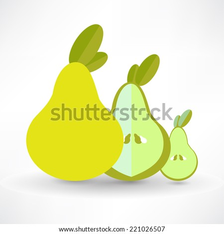 Vector Pear Icon On White Background Isolated - stock vector