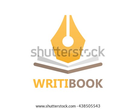 Vector pen and book logo concept - stock vector