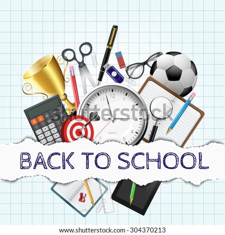 Vector pen, calculator, pencils and other school supplies. Back to school illustration - stock vector