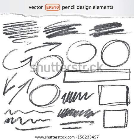 vector pencil design elements - color can be changed by one click - stock vector