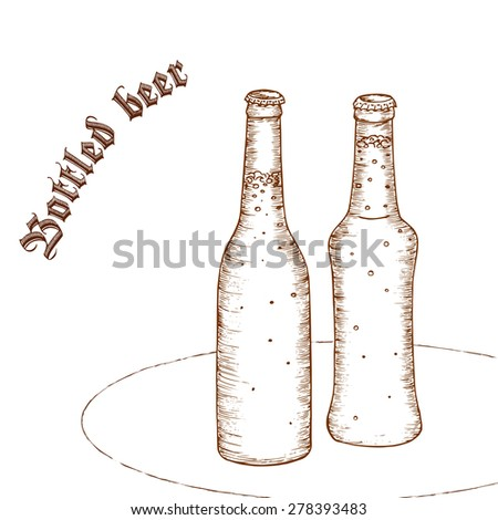 "vector pencil hand drawn illustration of pair of beer bottle with label ""bottled beer"" - stock vector"