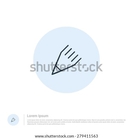 vector pencil icon thin line for web and mobile, modern minimalistic flat design. Vector outline icon and offset colour on light white background - stock vector