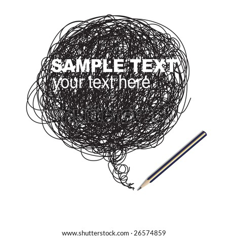 Vector - Pencil scribble random drawing, insert text in doodle area - stock vector