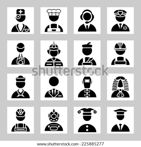Vector people and professions icons set - stock vector