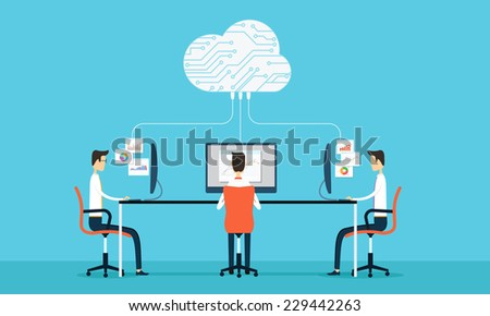 Vector people business  programing develop web and application on cloud net work - stock vector