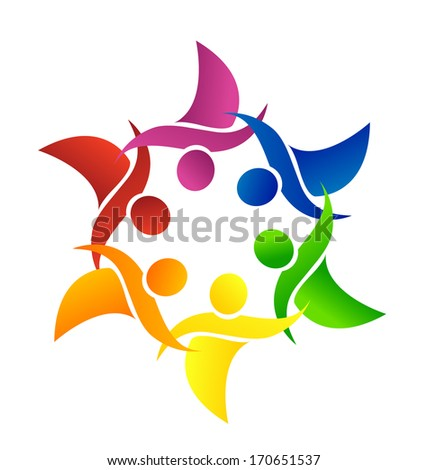 Vector people holding hands icon App. - stock vector