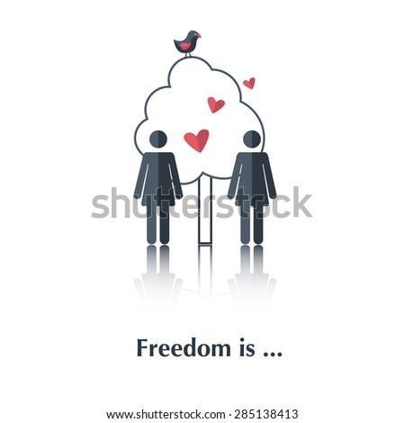 Vector people icon,pictogram.Concept free relationships,lesbians,tree,red heart ,bird,over white with text Freedom is,in flat stile - stock vector