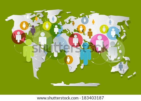 Vector People on Paper World Map - Social Media Connection Symbols  - stock vector