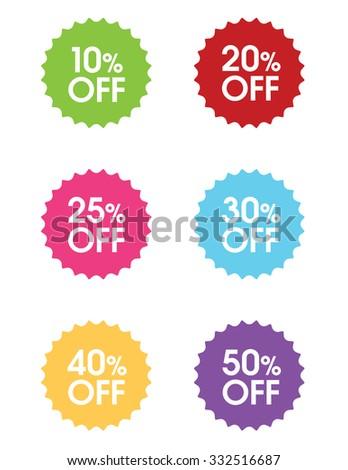 "Vector ""Percentage Off"" Sale Bursts - stock vector"