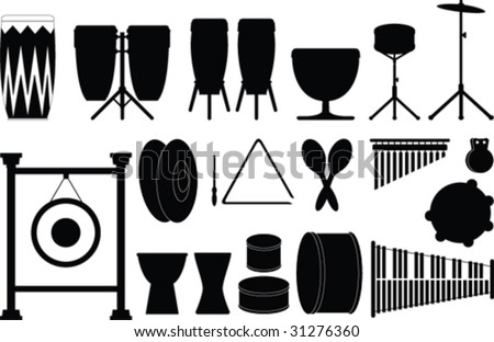 Vector percussion instruments - stock vector
