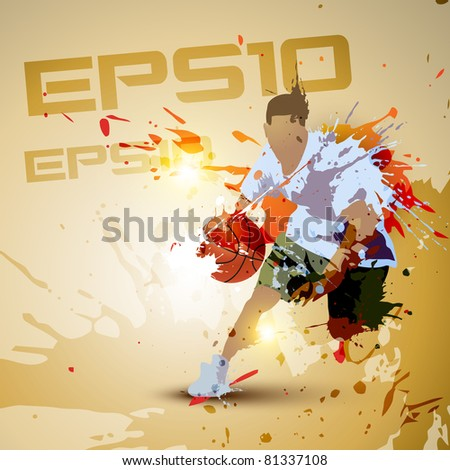 vector person playing basketball in grunge dirty style - stock vector