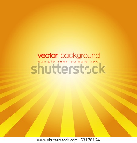 Vector perspective lines on the gold background with text - stock vector