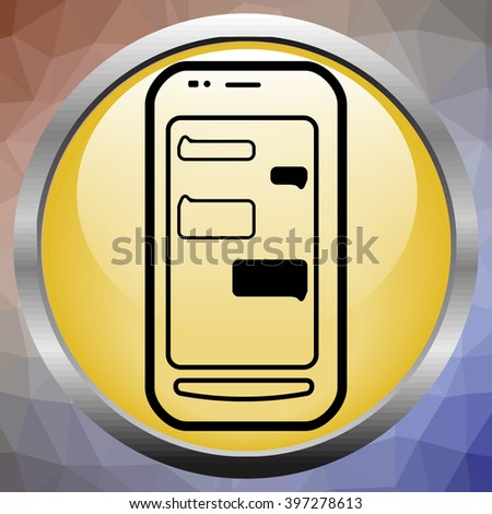 Vector phone chat bubbles. Sms messages. Speech bubbles. Short message service bubbles. - stock vector