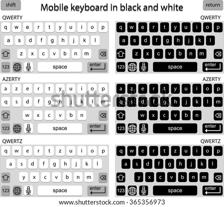 Vector Phone keyboard in black and white, smart phone keypad, mobile phone key text - stock vector