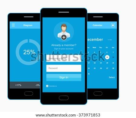 Vector phone sign up form. Calendar. Diagram. Flat interface - stock vector