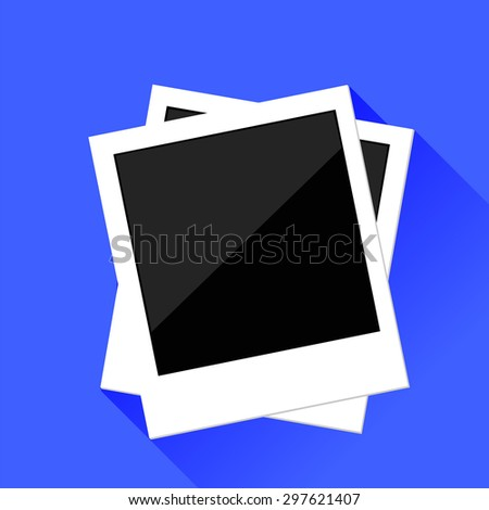 Vector Photo Frames Isolated on Blue Background. Long Shadow. - stock vector