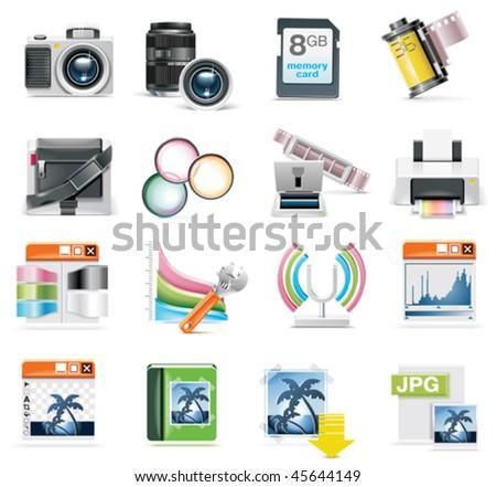 Vector photography icon set - stock vector