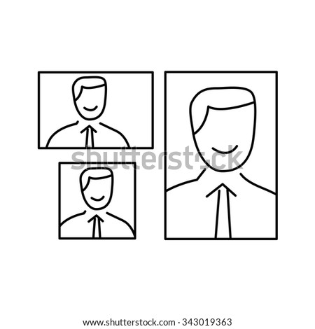 vector photography portrait canvas cropping formats linear icon and infographic | illustrations of gear and equipment for professional photographers and amateurs black isolated on white background - stock vector