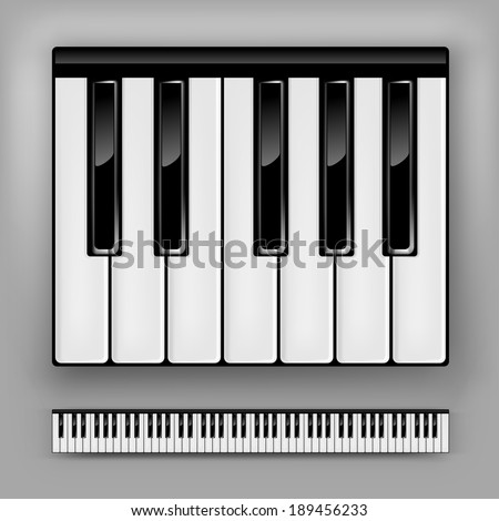 Vector piano keyboard. One octave or full 88 keys.  - stock vector