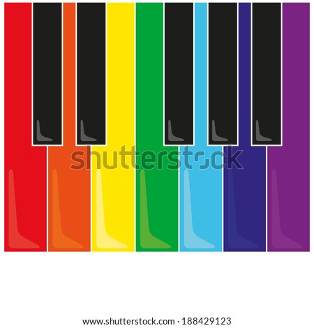 Vector piano keys and black color on a white background - stock vector