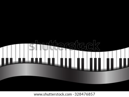 Vector : Piano with curve on black background - stock vector