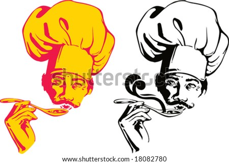 Vector pics of the chef: with one color and with two PANTONE color - stock vector