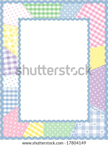 vector - Picture Frame, vertical, pastel gingham, check, polka dot quilted patchwork, blue rickrack border, copy space for baby books, albums, scrapbooks. EPS8 organized in groups for easy editing. - stock vector