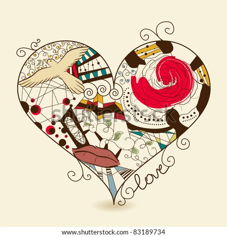 Vector picture of abstract heart - stock vector