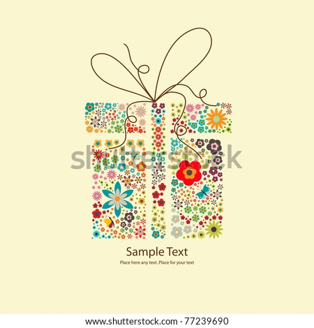 Vector picture of gift with small flowers - stock vector