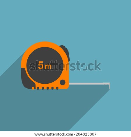 vector picture of industrial measure tape, flat style icon - stock vector