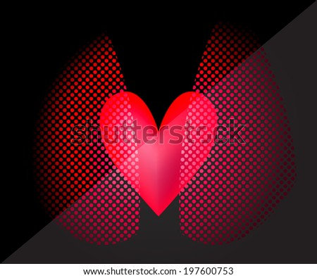 Vector Picture of the heart and lungs - stock vector