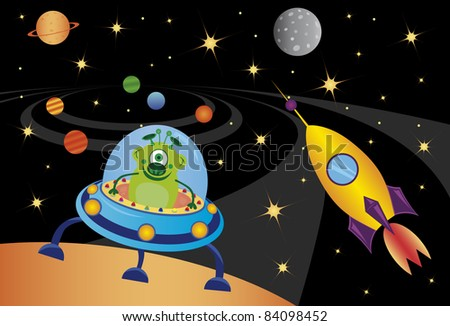 vector picture with alien in the spaceship in the universe - stock vector