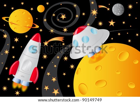 vector picture with spaceships in the universe - stock vector