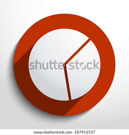 Vector pie chart web flat icon in circle - stock vector