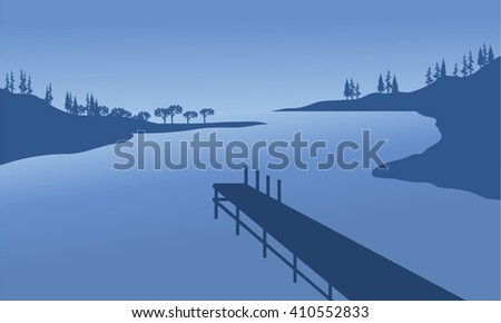 Vector pier of silhouette with blue backgrounds - stock vector
