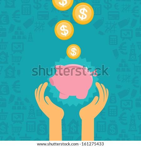 Vector piggy bank concept in flat style - money savings - stock vector