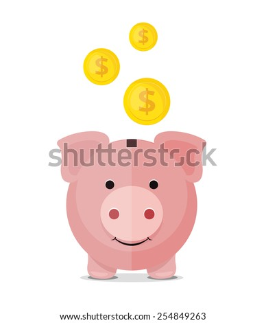 Vector piggy bank flat icon - stock vector