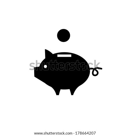 vector piggy money bank icon | flat design black pictogram on white background - stock vector