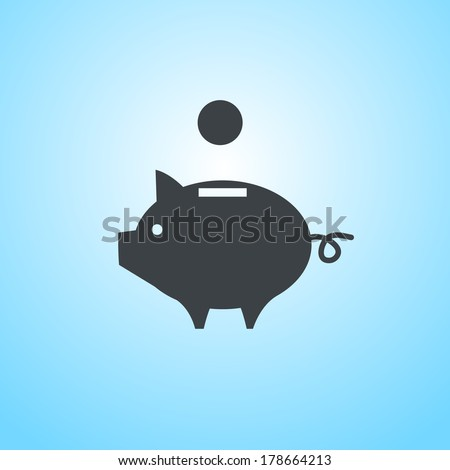 vector piggy money bank icon | flat design pictogram on blue background - stock vector
