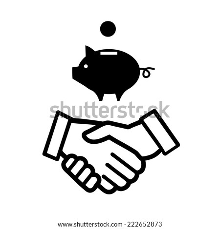 vector piggy money bank with handshake icon | modern black flat design pictogram isolated on white background - stock vector