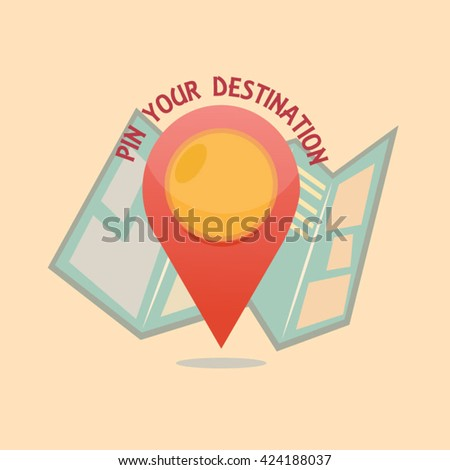 Vector Pin Pointer with map icon - stock vector