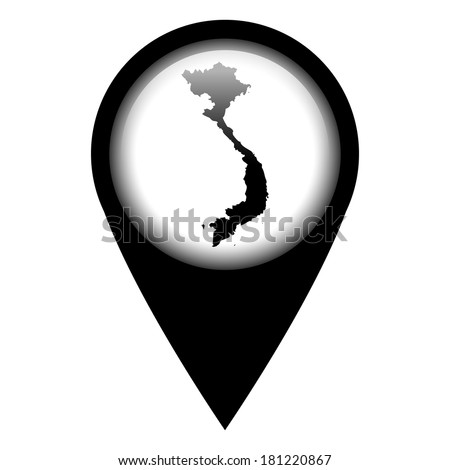Vector pin with the map in - Vietnam - stock vector