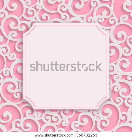 Vector Pink 3d Curl Valentines Day Greeting or Wedding Invitation Card with Damask Floral Swirl Pattern  - stock vector