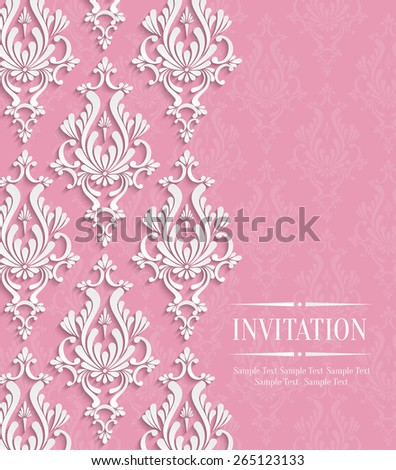 Vector Pink 3d Vintage Background for Greeting or Invitation Card Design with Floral Damask Pattern - stock vector