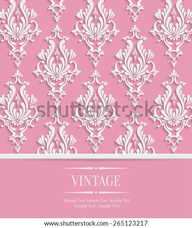 Vector Pink 3d Vintage Background for Invitation or Greeting Card with Damask Floral Pattern - stock vector