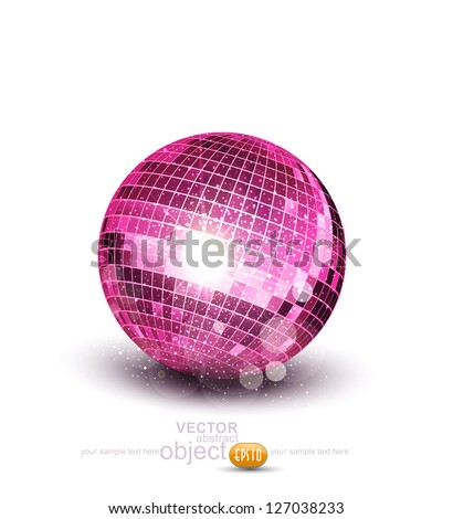 Vector pink disco ball on a white background - stock vector